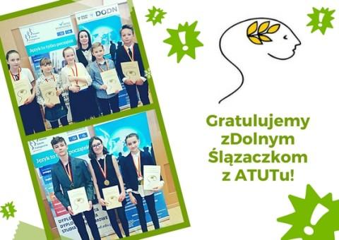 Gratulacje dla laureatów zDolnego Ślązaczka 2018 ze szkoły ATUT