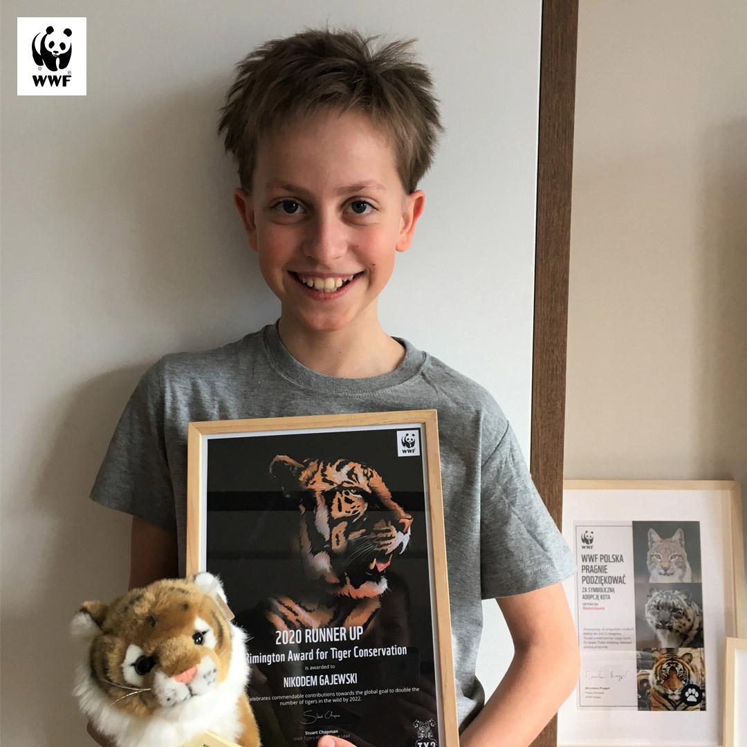Nikodem z Dwujęzycznej Szkoły Podstawowej ATUT z międzynarodwym wyróżnieniem The Remingtoon Award for Tiger Conservation
